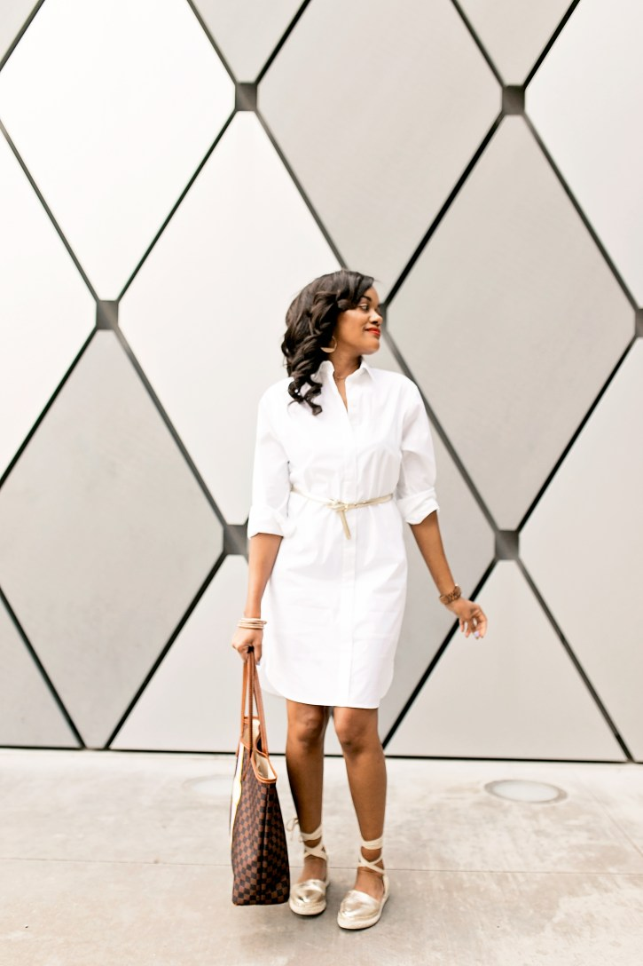 white shirt dress, casual summer dress, barrington gifts tote bag, espadrille sandals, affordable fashion, dallas blogger, black girl blogger, summer style inspiration