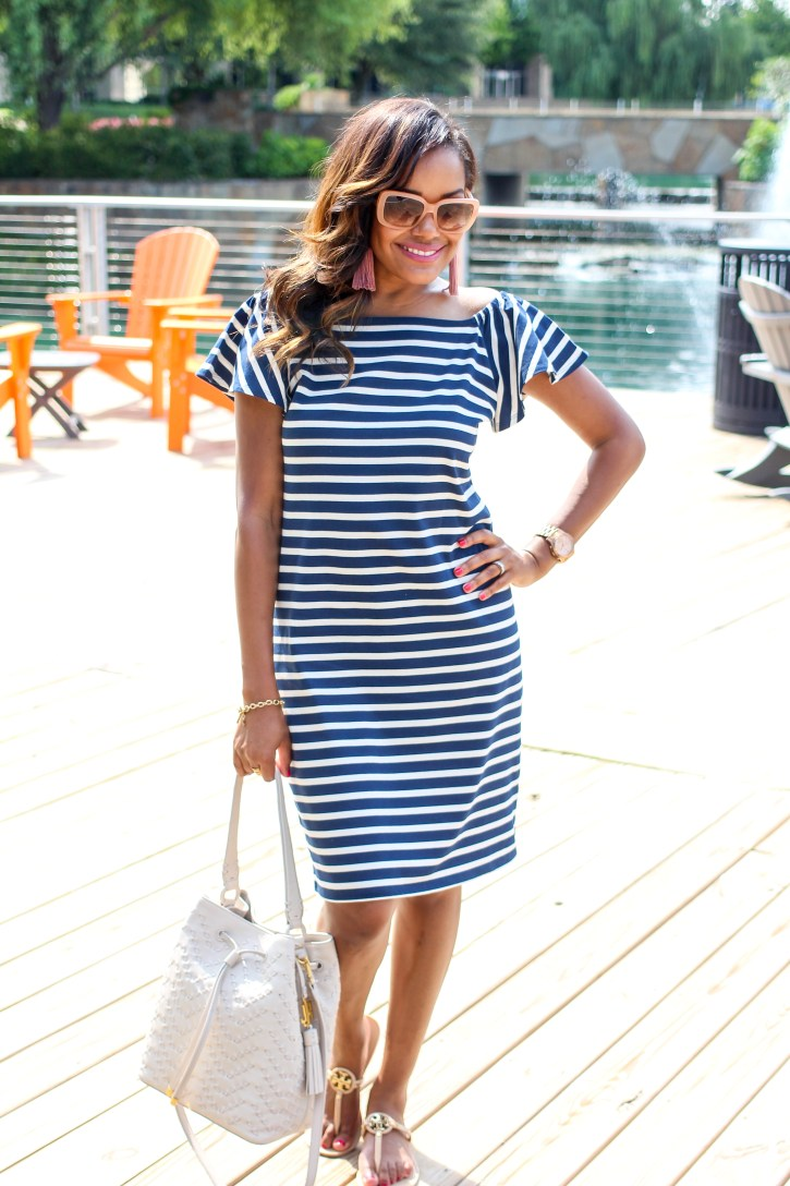 Lauren Ralph Lauren,lauren ralph lauren bucket bag, Lauren Ralph Lauren Dress, summer dresses, stripe off shoulder dress, versatile dress, casual work dress, dallas blogger, black fashion blogger, mommy fashion, tory burch slides, bobbi brown sunglasses