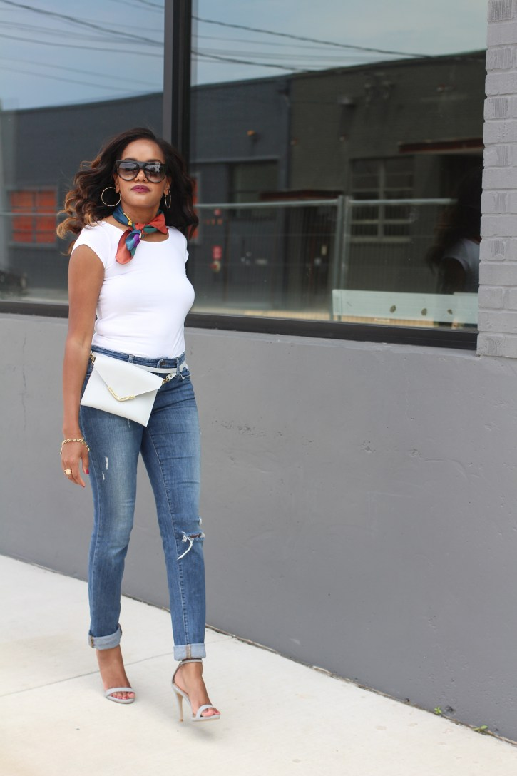 fifteen and fifteen fanny pack,FANNY PACK, FIFTEEN AND FIFTEEN, FALL HANDBAG, HANDBAG TRENDS, CLUTCH HANDBAG, CROSSBODY BAG, STATEMENT BAG, ZARA SCARF, SCARF TREND, HENRI BENDEL, CELINE SUNGLASS DUPE, WHITE TEE AND JEANS, DALLAS BLOGGER, FASHION BLOGGER, BLACK FASHION BLOGGER