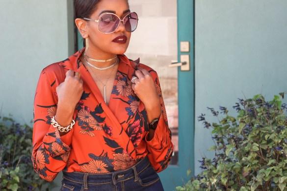 shein, floral bodysuit, 70s style fashion, 70s fashion inspo, floral bodysuit, zara bodysuit dupe, how to wear bodysuit, fall fashion, black fashion blogger, dallas blogger