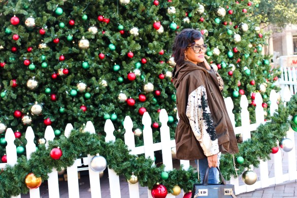sequin sleeve jacket, zara jacket, christmas outfit inspo, sequin jacket, henri bendel sunglasses, winter coats, winter parka, dallas blogger, fashion blogger, black fashion blogger