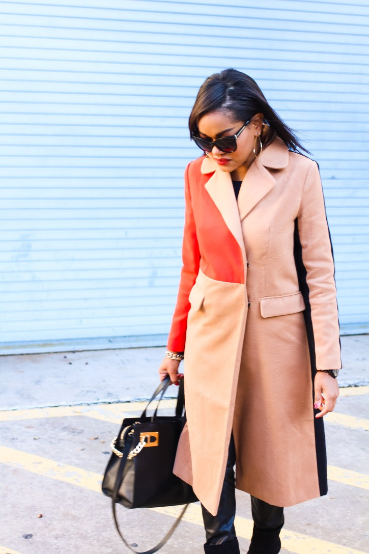 color block coat, colorblock coat, shein coat, affordable coats, statement jacket, statement coat, affordable outerwear, stylish coats, coats under $50, dallas blogger, fashion blogger, black fashion blogger