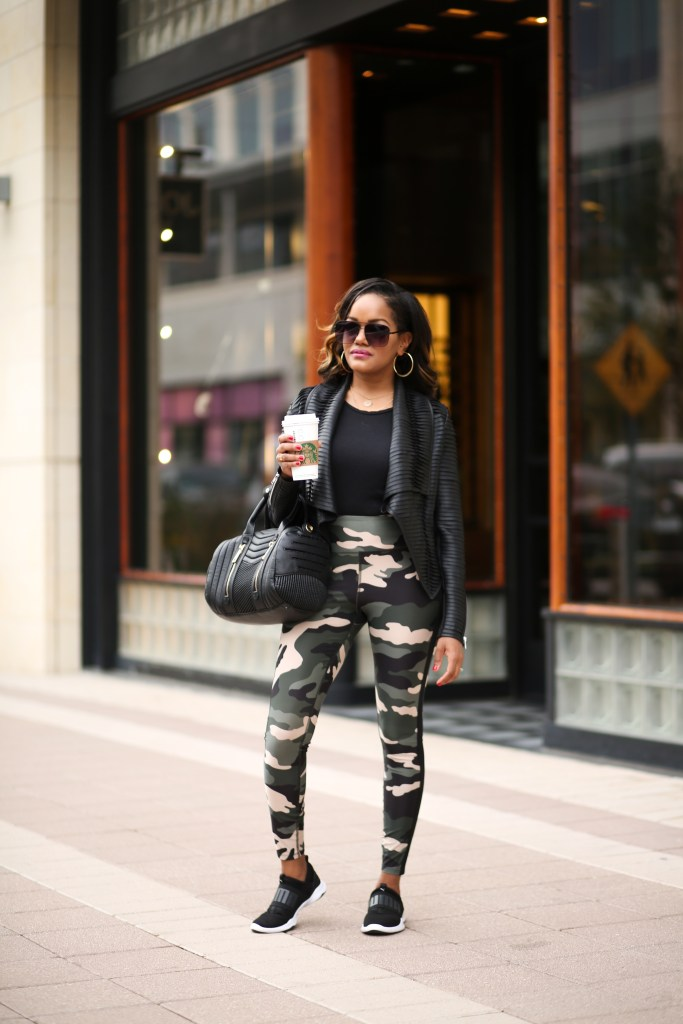 athleisure, stylish athleisure outfit, mommy style, mom on the go outfits, forever 21 camo leggings, puma sneakers, dallas blogger, black fashion blogger, black mommy blogger, stylish mommy, forever 21 active wear