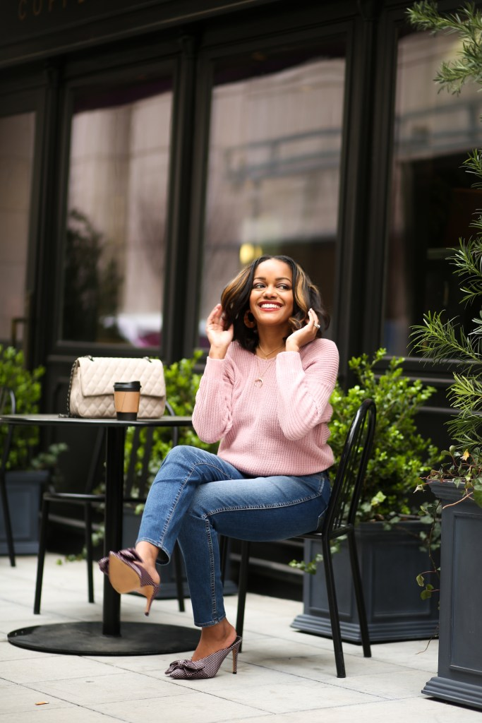 kut from the kloth, kut from the kloth diana, best high rise jeans, kut from the kloth denim, my favorite denim brand, dallas blogger, black fashion blogger, bow mules, shein knot sweater