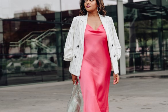 slip dress with blazer, slip dress & blazer, slip dress inspo, affordable slip dress, pink slip dress, zara pink slip dress, slip dress street style, how to wear slip dress, spring dresses, spring dress inspo