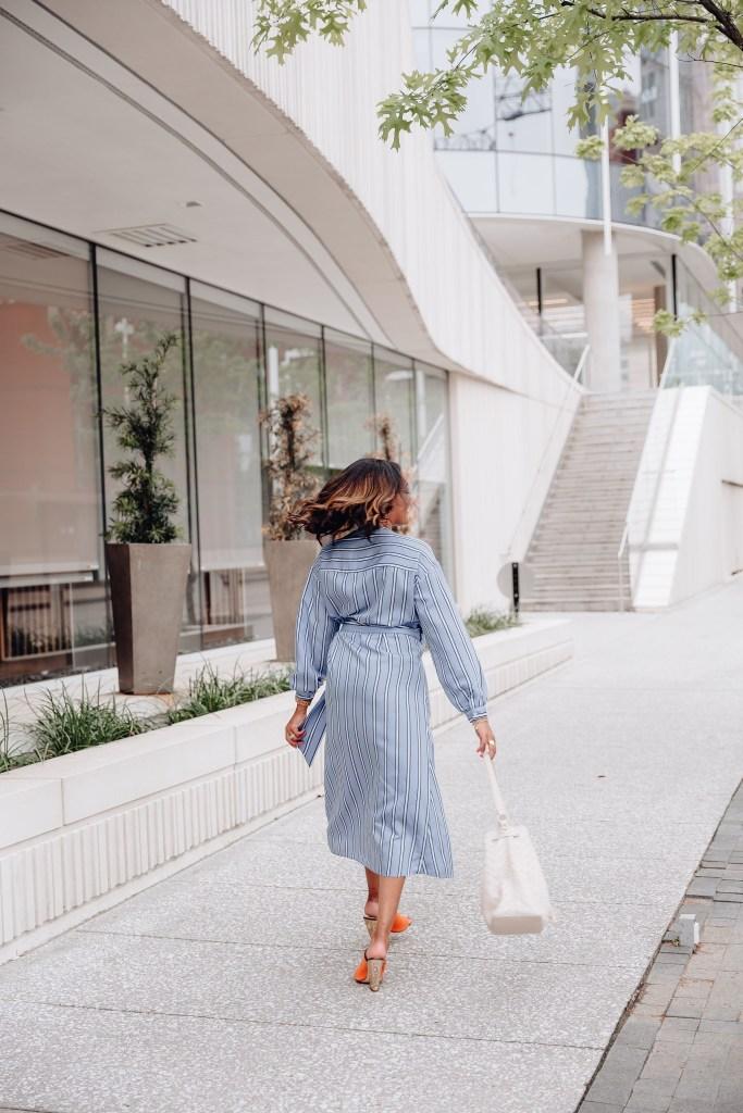h&m striped wrap dress, striped wrap dress, spring dresses, spring wrap dresses, spring dress inspo 2019, wrap dress style inspo, how to wear wrap dress, casual spring dresses, affordable spring dresses, dallas fashion blogger, black dallas blogger, dallas blogger
