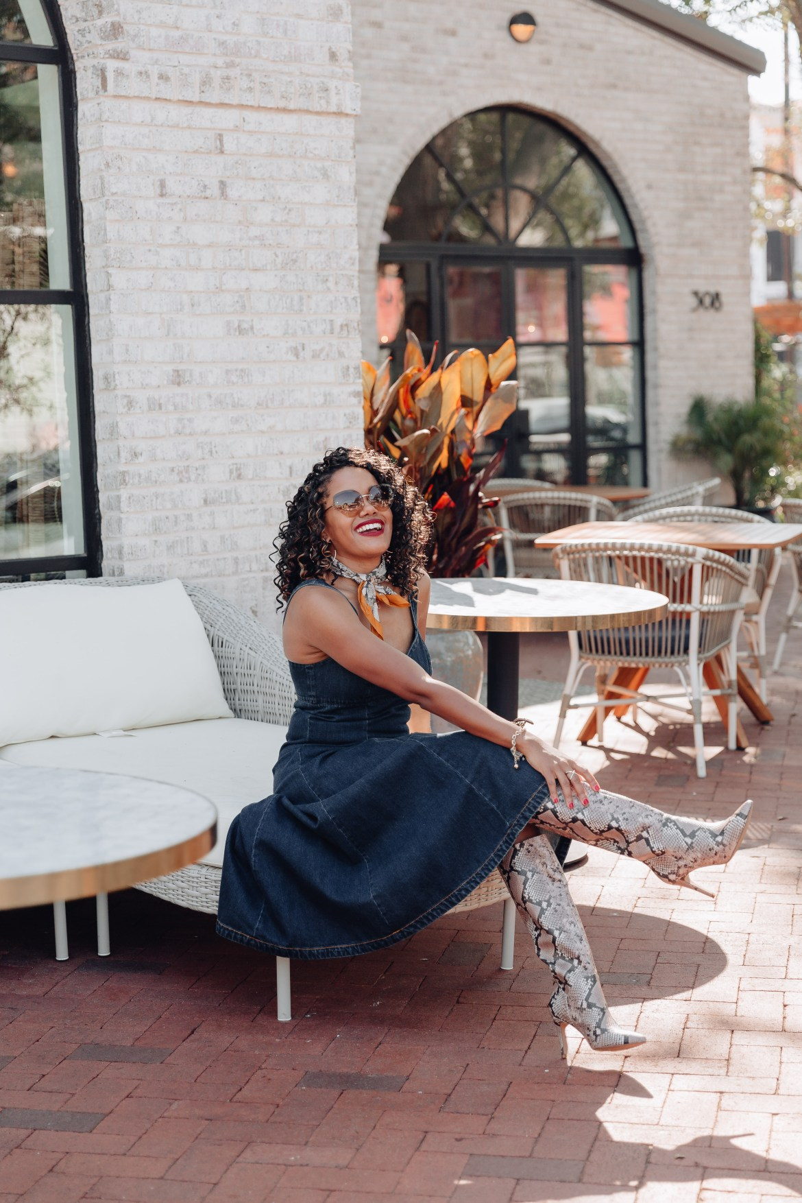 fall fashion inspo, denim midi dress, how to wear denim dress, denim dress and boots outfit, snakeskin knee boot outfit, steve madden snakeskin knee boots, fall transitional outfit, how to wear denim dress in fall, snakeskin knee boot inspo, denim midi dress, black fashion blogger, dallas fashion blogger, 90s handbag inspo, fall dress inspo, fall dress outfit idea, denim dress outfit idea, snakeskin boot outfit idea