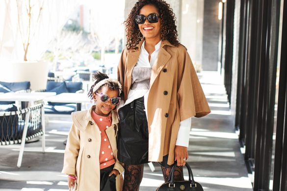 mommy and me outfit ideas, mommy and me street style, mommy daughter fashion, mommy daughter style inspo, leather shorts outfit, how to wear leather shorts, mommy daughter fashion, black mother daughter style, black mommy daughter fashion, dallas blogger, little girl style inspo, zara kids, zara leather shorts, black fashion blogger, amazon kids trench coat, toddler leather shorts