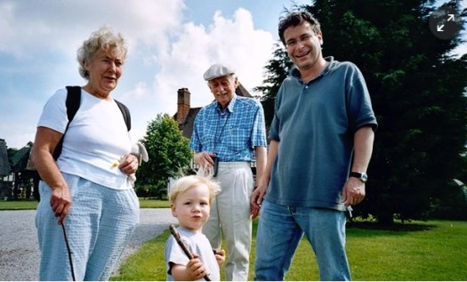 Jon Henley with his father, mother and son in 2003
