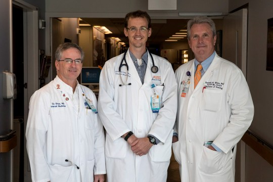 Dr. Tim Short, Dr. Joshua Barclay, and Ken White, a registered nurse and nurse practitioner, specialize in palliative care at the University of Virginia Medical Center.
