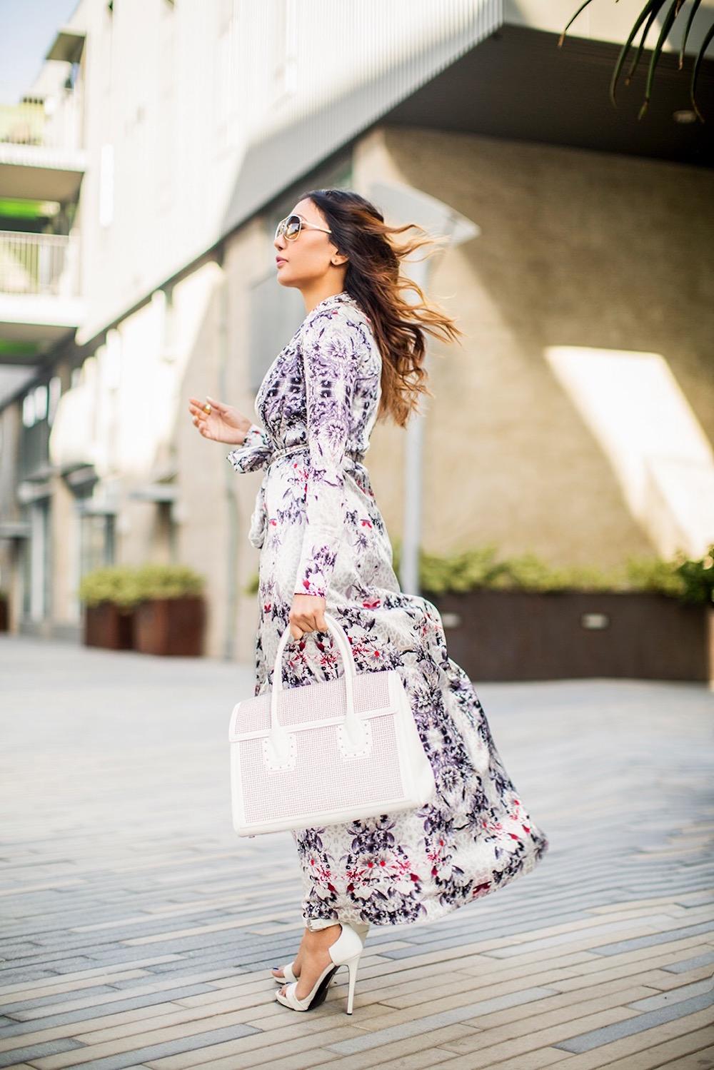 fashionable lady in maxidress