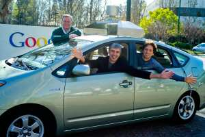 Google's Eric, Larry and Sergey in a self-driving car; January 20, 2011