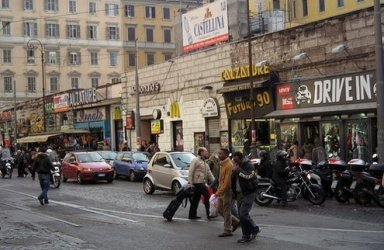 The street runs beside Rome's Stazione Termini.