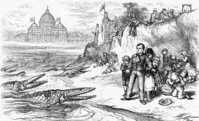 Bishops as crocodiles attacking U.S. public schools, with connivance of Irish Catholic politicians