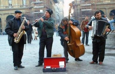 The tradition of buskers remains strong, but cash flow is poor.