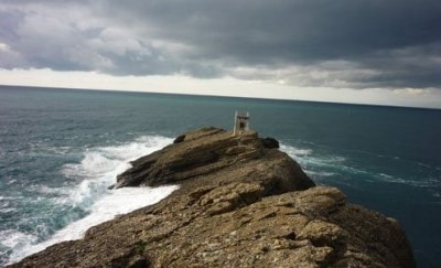 The rocky point juts 50 meters into the sea.