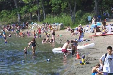 The park near the cabin is packed to the hilt in summer.