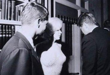 Bobby Kennedy, Marilyn Monroe, and President John F. Kennedy in 1962.