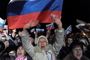 Pro-Russian Crimean citizens celebrate in Sevastopol after preliminary results.