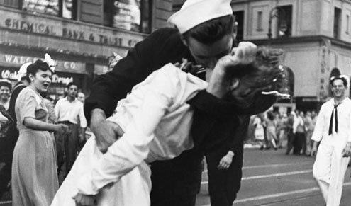 Both were taken Aug. 14, 1945 after Japan surrendered.