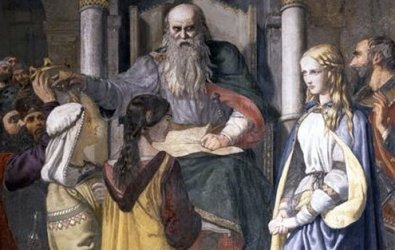 King Lear disinheriting Cordelia, fresco by John Rogers Herbert, 1850.