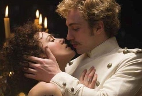 In Anna Karenina, Anna (Keira Knightley) has an affair with Count Vronsky (Aaron Taylor-Johnson).