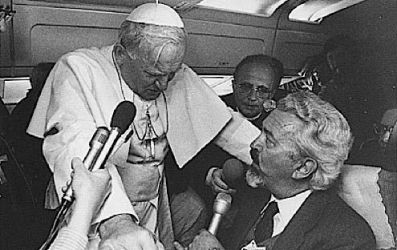Pope John Paul II could get in your face — literally.