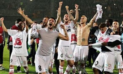 Carpi players after the team clinched a berth in Serie A.