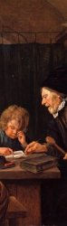 """Detail from """"The Severe Teacher,"""" by Jan Steen."""