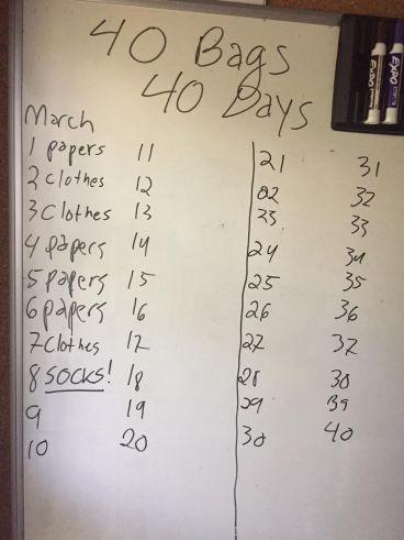 40 bags April 30