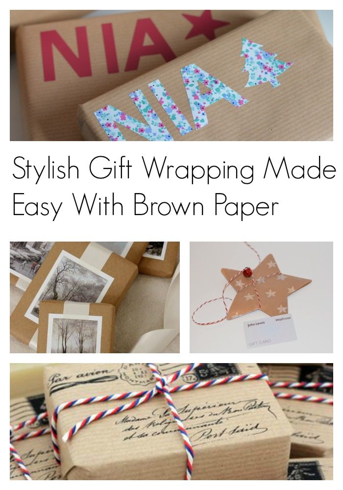 stylish gift wrapping for Christmas with brown paper