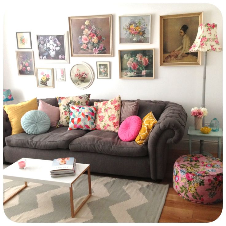 Vintage pops of colour living room