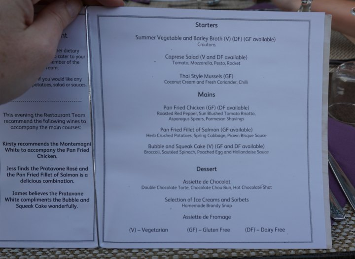 Mark Warner Corsica typical menu