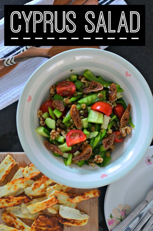 Cypriot salad with halloumi , figs, capers cucumber, celery, green pepper