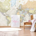 world map on the wall as a mural with a modern wood bed in front of it