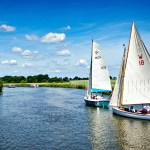 two sailing boats on the norfolk broads