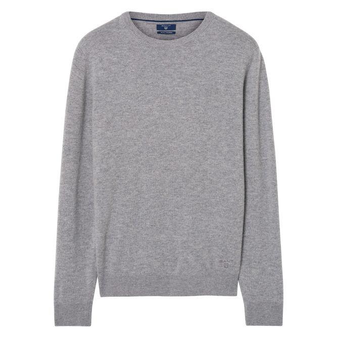 grey round neck jumper