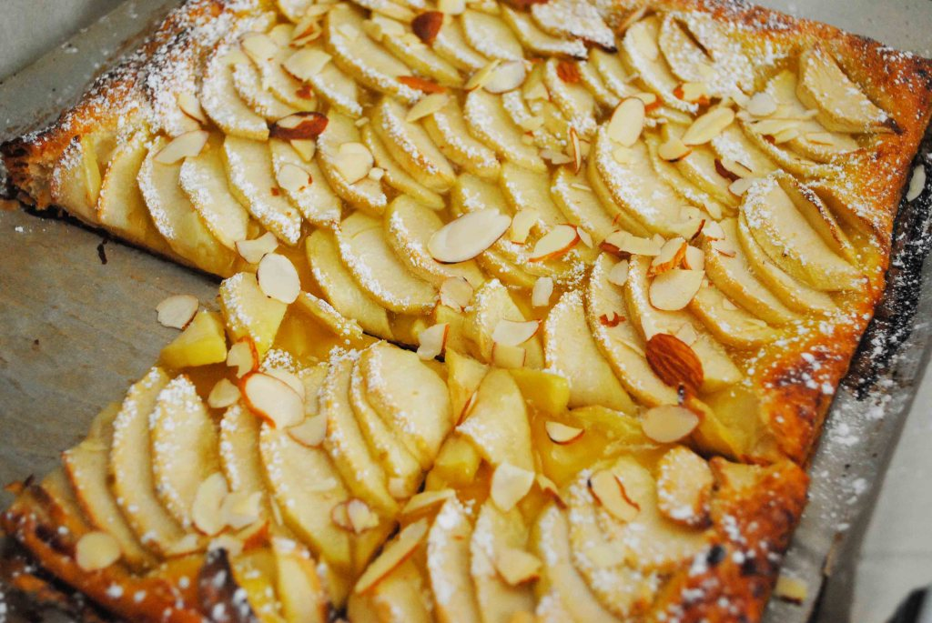 Apple Lemon Tart with Shaved Almonds