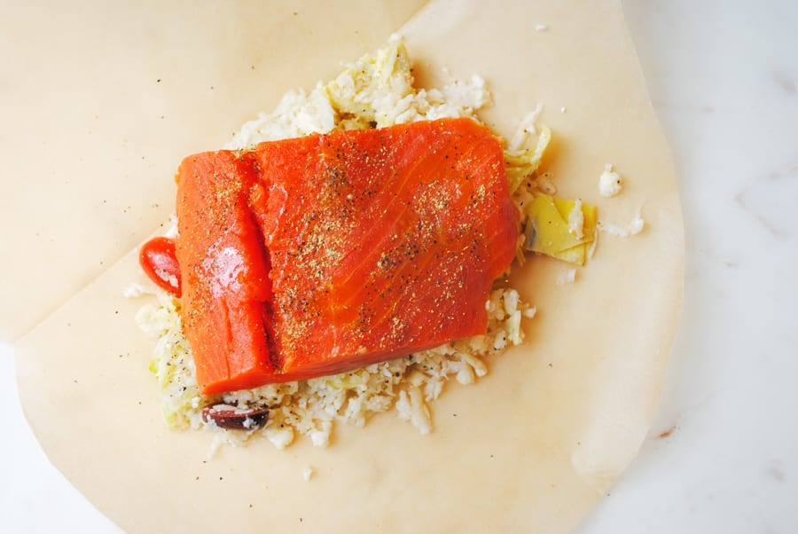 The Salmon in the Parchment with the Greek cauliflower rice underneath.