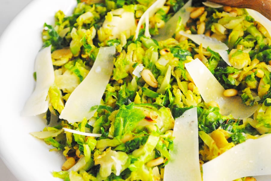 Shaved Brussel Sprouts with Pine Nuts
