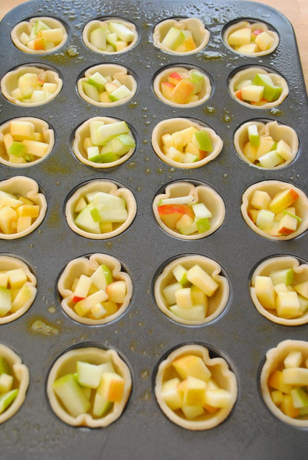 Fill each pie crust with some small diced apples.
