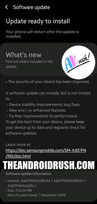 Samsung Galaxy A30s December 2020 Security Update Screenshot - TheAndroidRush.Com