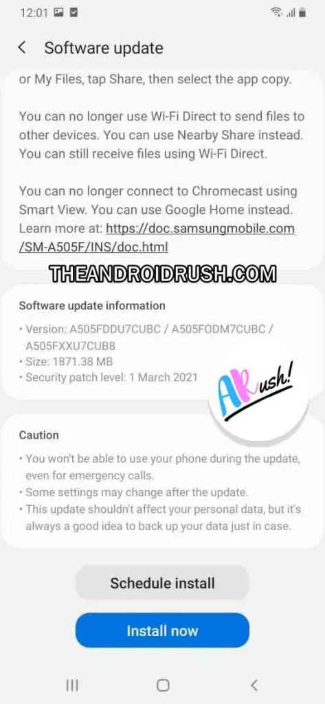 Samsung Galaxy A50 Android 11 Update Screenshot - The Android Rush