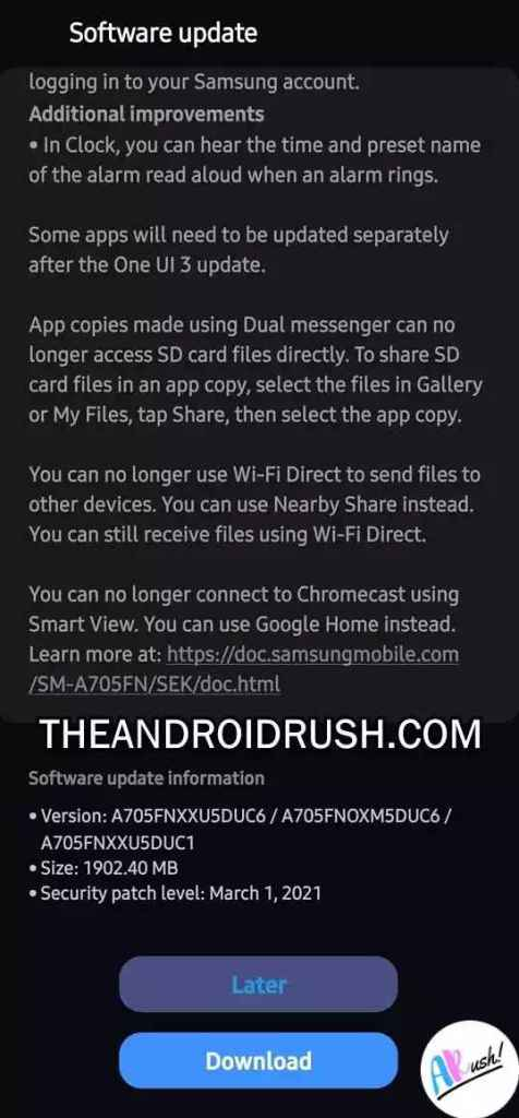 Samsung Galaxy A70 Android 11 Update Screenshot - The Android Rush