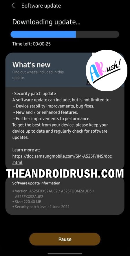 Samsung Galaxy A52 June 2021 Security Update Screenshot - The Android Rush