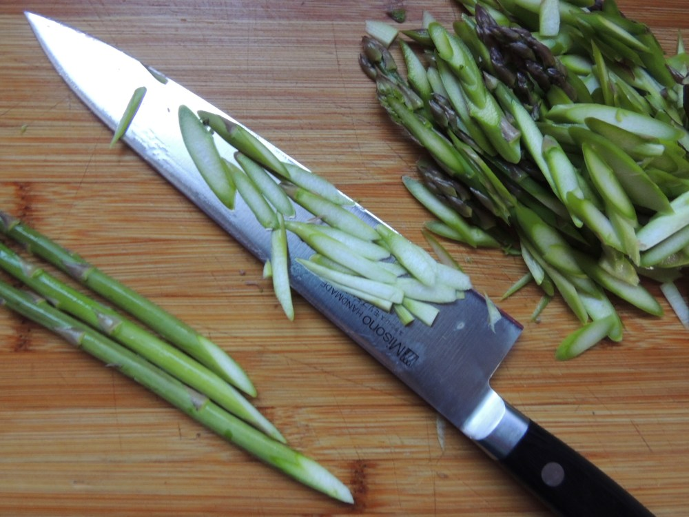 Thinly sliced asparagus