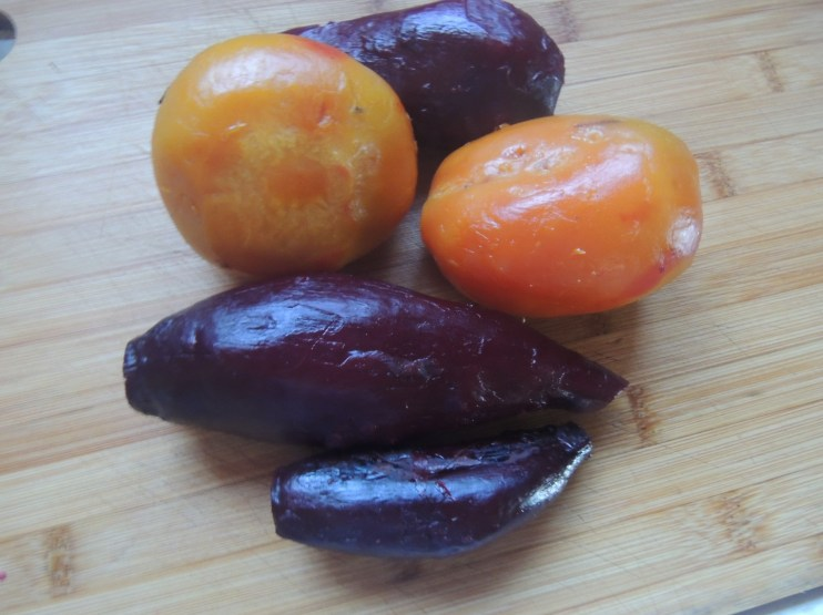 Peeled red and yellow beets