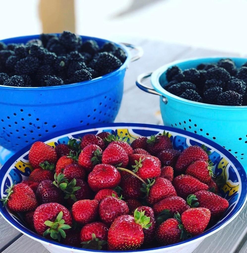 Fresh strawberries and blackberries