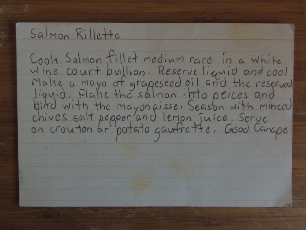 SALMON RILLETTE INDEX CARD