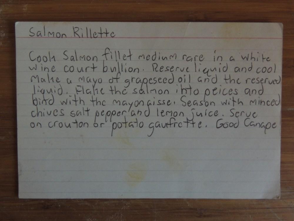 SALMON RILLETTE INDEX CARD